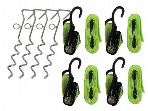 Universal Storm Strap Kit High Visibility - Tie Down Awning Tent Ratchet Straps and Marquee Stakes